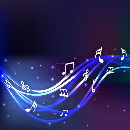 Illustration pour Notes musicales avec des vagues bleues brillantes sur fond bleu élégant . - image libre de droit