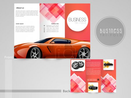 Illustration for Professional trifold brochure, flyer or catalog for automobile sector. - Royalty Free Image