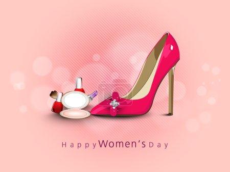 Illustration pour Célébration de la Journée internationale de la femme avec des chaussures pour dames brillantes et des produits cosmétiques sur fond rose . - image libre de droit
