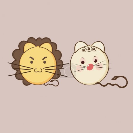 Angry and sad expressions with lion and cat characters.
