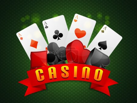 Flush cards with 3D symbols for Casino.