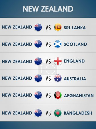 World Cup cricket match schedule of New Zealand.