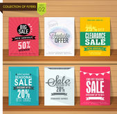 Set of six different Sale flyers with fantastic discount offer on wooden background
