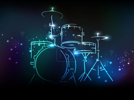 Drum set with neon effect for Music concept.