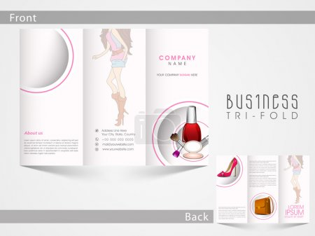 Illustration pour Creative Tri Pliez brochure, modèle ou flyer design d'accessoires de mode avec des porte-places pour votre contenu . - image libre de droit