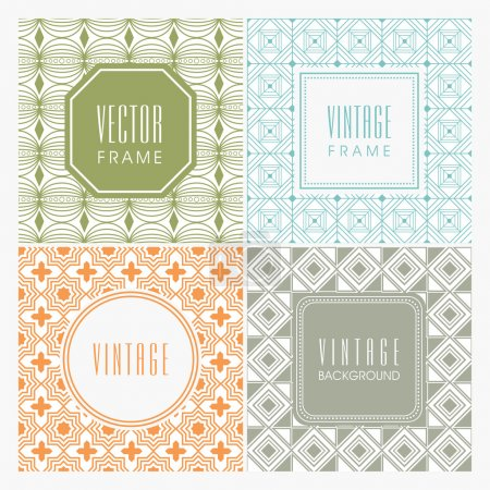 Illustration for Beautiful seamless patterns with blank frames in different shapes. - Royalty Free Image