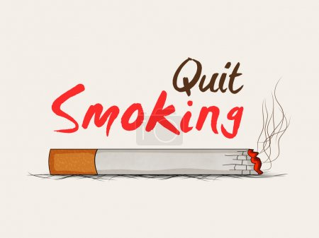 Burning cigarette with text Quit Smoking, can be u...