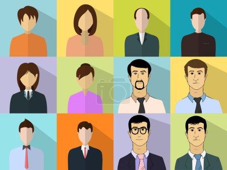 Illustration pour Ensemble coloré de différents personnages d'affaires masculins et féminins . - image libre de droit