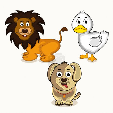 Illustration for Cute cartoon character of smiling lion with dog and white duck. - Royalty Free Image
