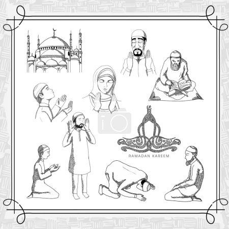 Praying Muslim people for Ramadan Kareem celebration.
