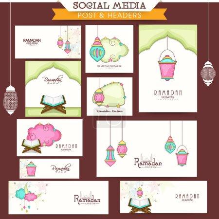 Ramadan Kareem celebration social media posts and headers.