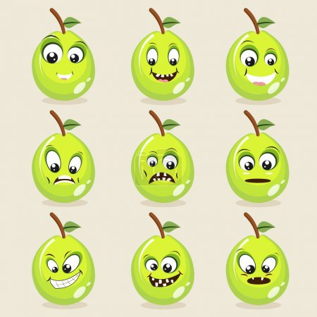 Guava fruits character in different expressions.