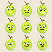 Set of different expressions with funny guavava faces on beige background