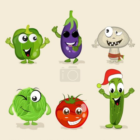Set of funny vegetable characters.