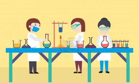 Cartoon of scientists in laboratory.