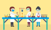 Cartoon of scientists working in science laboratory on yellow background