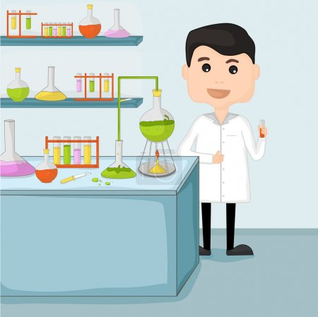 Illustration for Cartoon of a young scientist man holding test tube for research in chemical laboratory on sky blue background. - Royalty Free Image