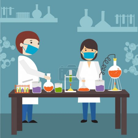 Cartoon of a scientists in laboratory.