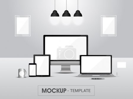 Mockup of digital devices for business.