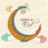 Jashn-e-Eid celebration greeting card with colorful creative moon on clouds decorated background