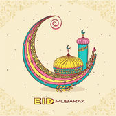Colorful creative crescent moon with islamic mosque or masjid for muslim community festival Eid Mubarak celebration