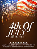 Beautiful invitation card decorated with fireworks on waving national flag background for 4th Of July American Independence Day celebration