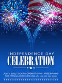 American Independence Day celebration invitation card with firew
