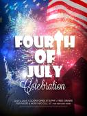 Stylish text Fourth of July and Satue of Liberty on shiny fireworks decorated national flag background for American Independence Day celebration