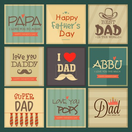 Set of greeting cards for Happy Father's Day.