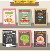 Stylish birthday party flyers collection decorated with sweet cakes and cupcakes
