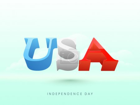 American Independence Day celebration with 3D text.