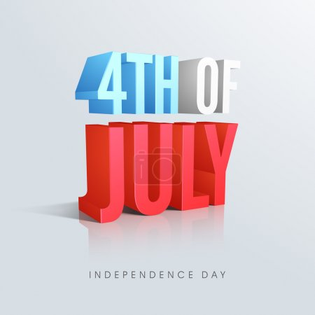 Illustration for 3D glossy text 4th of July in national flag color on shiny sky blue background for American Independence Day celebration. - Royalty Free Image
