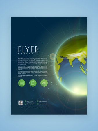 Illustration for Creative business flyer, template or brochure design with shiny earth. - Royalty Free Image