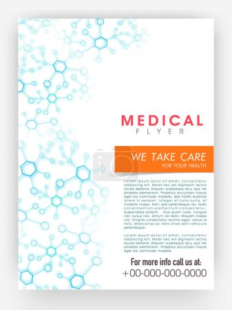 Illustration for Medical flyer, template or brochure design decorated with blue molecules with place holders. - Royalty Free Image