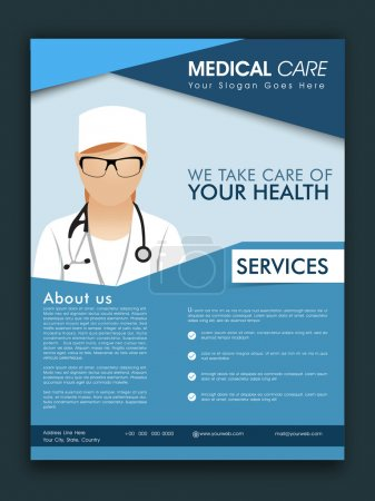 Template, brochure or flyer for Medical Care.