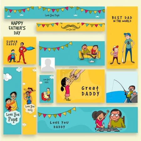 Illustration for Social media post, header or banner set decorated with father and his children for Happy Father's Day celebration. - Royalty Free Image
