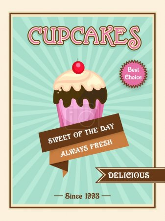 Menu card, flyer or brochure for cupcakes.