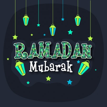 Greeting card with stylish text and lanterns for Ramadan Kareem.