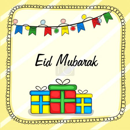 Greeting card with gifts for Eid Mubarak celebration.