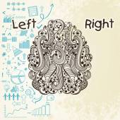 Human brain infographic with left and right hemisphere