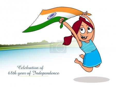 Cute happy girl celebrating Indian Independence Day.