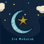 Beautiful blue crescent moon with hanging star on night view background Elegant greeting card design for holy festival of Muslim community Eid celebration