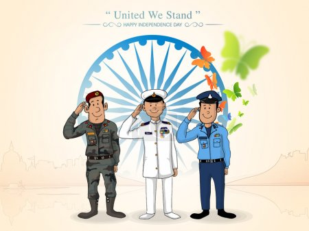 Illustration for Illustration of saluting Indian force officers in front of Ashoka Wheel for Indian Independence Day celebration. - Royalty Free Image