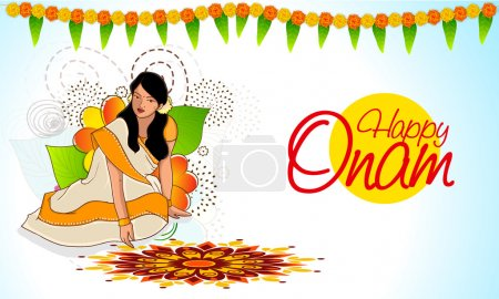 Young girl for Happy Onam celebration.