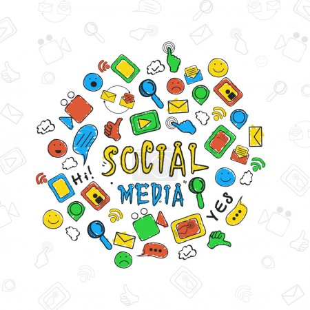 Set of colorful social media icons.