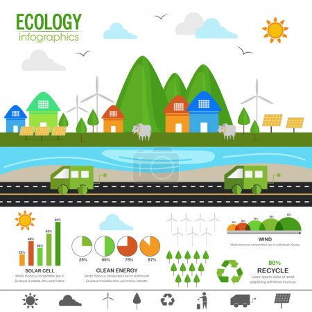 Set of ecology infographic elements.
