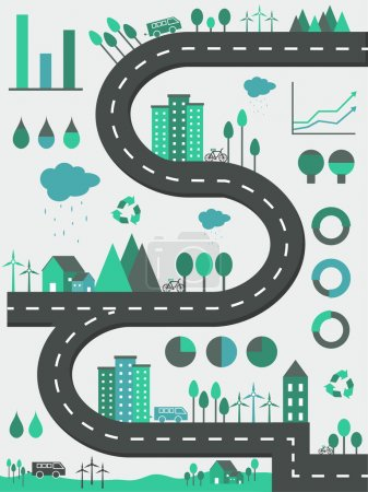 Ecological infographic elements with city view.