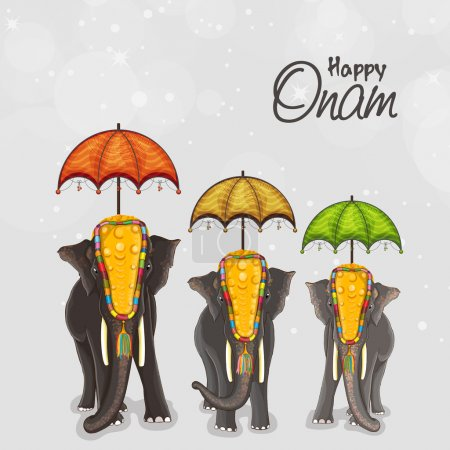 Elephants for Happy Onam festival celebration.