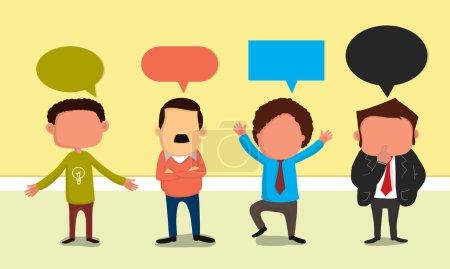 Illustration pour Illustration de jeunes hommes d'affaires personnage dans différentes poses sur fond élégant pour votre entreprise . - image libre de droit