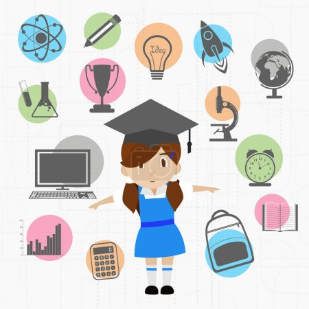 Colorful educational elements with educated girl.